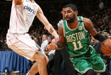 WASHINGTON, DC -  FEBRUARY 8: Kyrie Irving #11 of the Boston Celtics handles the ball during the game against the Washington Wizards on February 8, 2018 at Capital One Arena in Washington, DC. NOTE TO USER: User expressly acknowledges and agrees that, by downloading and or using this Photograph, user is consenting to the terms and conditions of the Getty Images License Agreement. Mandatory Copyright Notice: Copyright 2018 NBAE (Photo by Ned Dishman/NBAE via Getty Images)