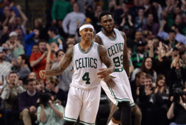 (Boston, MA, 02/25/16) Boston Celtics teammate Isaiah Thomas (4) and Jae Crowder (99) celebrate after Crowder hit a three point jumper after receiving a pass from Thomas against the Milwaukee Bucks late in the fourth quarter of an NBA basketball game at TD Garden in Boston on Thursday, February 25, 2016. Staff photo by Christopher Evans