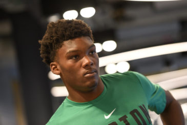 ( 07/03/18 Boston, MA )  Celtic, Robert Williams shows up to a media availability at the new Celtics center. July 03, 2018. Staff Photo by Faith Ninivaggi
