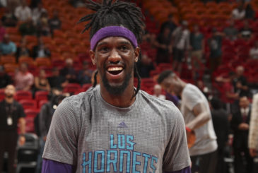 MIAMI, FL - MARCH 8: Briante Weber #0 of the Charlotte Hornets warms up before the game against the Miami Heaton March 8, 2017 at AmericanAirlines Arena in Miami, Florida. NOTE TO USER: User expressly acknowledges and agrees that, by downloading and or using this Photograph, user is consenting to the terms and conditions of the Getty Images License Agreement. Mandatory Copyright Notice: Copyright 2017 NBAE (Photo by Issac Baldizon/NBAE via Getty Images)