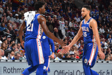 PHILADELPHIA,PA -  NOVEMBER 1 : Joel Embiid #21 of the Philadelphia 76ers and Ben Simmons #25 shake hands against the Atlanta Hawks at Wells Fargo Center on October 25,2017 in Philadelphia, Pennsylvania NOTE TO USER: User expressly acknowledges and agrees that, by downloading and/or using this Photograph, user is consenting to the terms and conditions of the Getty Images License Agreement. Mandatory Copyright Notice: Copyright 2017 NBAE (Photo by Jesse D. Garrabrant/NBAE via Getty Images)