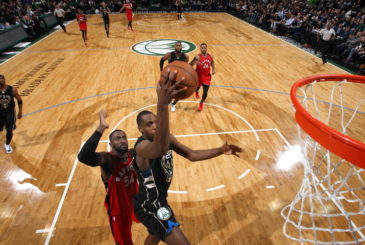 MILWAUKEE, WI - April 20: XX of the Toronto Raptors does something against XX of the Milwaukee Bucks in Game Three of the Eastern Conference Quarterfinals during the 2017 NBA Playoffs on April 20, 2017 at the BMO Harris Bradley Center in Milwaukee, Wisconsin. NOTE TO USER: User expressly acknowledges and agrees that, by downloading and or using this Photograph, user is consenting to the terms and conditions of the Getty Images License Agreement. Mandatory Copyright Notice:  Copyright 2017 NBAE (Photo by Gary Dineen/NBAE via Getty Images)
