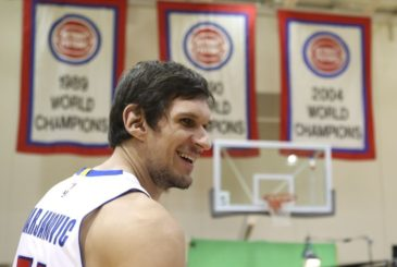 Sep 26, 2016; Detroit, MI, USA; Detroit Pistons center Boban Marjanovic smiles during media day at the Pistons Practice Facility. Mandatory Credit: Raj Mehta-USA TODAY Sports