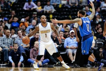 Oct 21, 2016; Denver, CO, USA; Dallas Mavericks guard Deron Williams (8) defends Denver Nuggets guard Jameer Nelson (1) in the third quarter at the Pepsi Center. The Nuggets won 101-75. Mandatory Credit: Isaiah J. Downing-USA TODAY Sports
