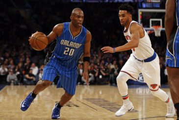Jan 2, 2017; New York, NY, USA; Orlando Magic guard Jodie Meeks (20) drives to the basket past New York Knicks guard Courtney Lee (5) during the first quarter at Madison Square Garden. Mandatory Credit: Adam Hunger-USA TODAY Sports