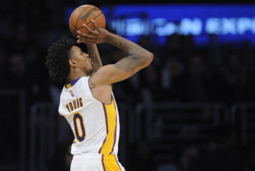 March 5, 2017; Los Angeles, CA, USA; Los Angeles Lakers guard Nick Young (0) shoots against the New Orleans Pelicans during the first half at Staples Center. Mandatory Credit: Gary A. Vasquez-USA TODAY Sports
