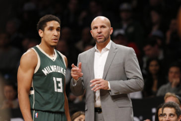 Milwaukee Bucks' head coach Jason Kidd talks to Bucks' guard Malcolm Brogdon (13) in the second half of an NBA basketball game, Thursday, Dec. 1, 2016, in New York. TheBucks defeated the Nets 111-93. (AP Photo/Kathy Willens)