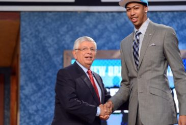 ORG XMIT: USPW-90338 June 28, 2012; Newark, NJ, USA; Anthony Davis (Kentucky), right, is introduced as the number one overall pick to the New Orleans Hornets by NBA commissioner David Stern during the 2012 NBA Draft at the Prudential Center.  Mandatory Credit: Jerry Lai-US PRESSWIRE ORIG FILE ID:  20120628_jel_sl8_315.jpg