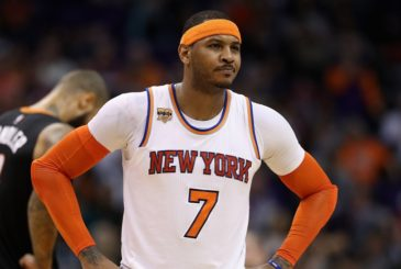 PHOENIX, AZ - DECEMBER 13:  Carmelo Anthony #7 of the New York Knicks on the court during the second half of the NBA game against the Phoenix Suns at Talking Stick Resort Arena on December 13, 2016 in Phoenix, Arizona.  The Suns defeated the Knicks 113-111.  NOTE TO USER: User expressly acknowledges and agrees that, by downloading and or using this photograph, User is consenting to the terms and conditions of the Getty Images License Agreement.  (Photo by Christian Petersen/Getty Images)