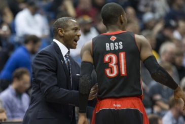 Mar 9, 2014; Minneapolis, MN, USA; Toronto Raptors head coach Dwane Casey talks to Toronto Raptors small forward Terrence Ross (31) during the second half against the Minnesota Timberwolves at Target Center. The Raptors won 111-104. Mandatory Credit: Jesse Johnson-USA TODAY Sports
