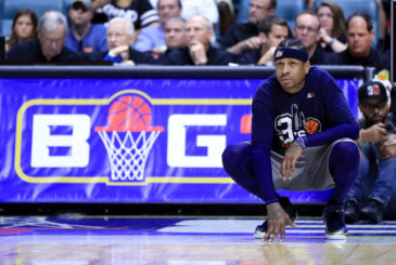 TULSA, OK - JULY 09:  Allen Iverson #3 of 3s Company looks on during the game against Trilogy during week three of the BIG3 three on three basketball league at BOK Center on July 9, 2017 in Tulsa, Oklahoma.  (Photo by Ronald Martinez/BIG3/Getty Images)