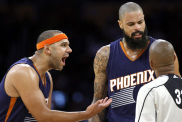 Phoenix Suns forward Jared Dudley, left, and Phoenix Suns center Tyson Chandler, center, talk with referee Sean Corbin, right, about a call during the second half of an NBA basketball game against the Los Angeles Lakers in Los Angeles, Sunday, Nov. 6, 2016. The Lakers won 119-108. (AP Photo/Alex Gallardo)