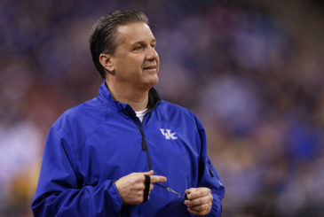 INDIANAPOLIS, IN - APRIL 03:  Head coach John Calipari of the Kentucky Wildcats looks on during practice for the NCAA Men's Final Four at Lucas Oil Stadium on April 3, 2015 in Indianapolis, Indiana.  (Photo by Joe Robbins/Getty Images)