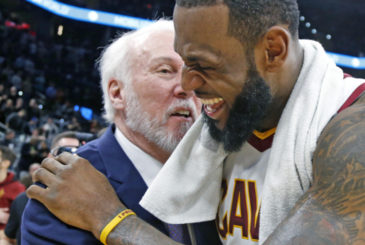SAN ANTONIO,TX - JANUARY 23 :  LeBron James #23 of the Cleveland Cavaliers shares a laugh with head coach Gregg Popovich of the San Antonio Spurs at the end of the game at AT&T Center on January 23, 2018  in San Antonio, Texas.  NOTE TO USER: User expressly acknowledges and agrees that , by downloading and or using this photograph, User is consenting to the terms and conditions of the Getty Images License Agreement. (Photo by Ronald Cortes/Getty Images) ORG XMIT: 775027350