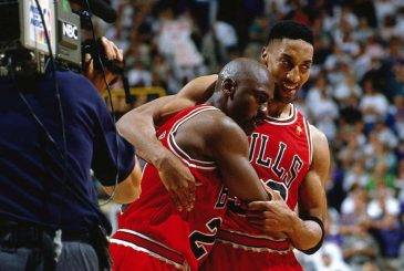 SALT LAKE CITY, UT - JUNE 11: Michael Jordan #23 and Scottie Pippen #33 of the Chicago Bulls celebrate after winning game five of the 1997 NBA Finals against the Utah Jazz on June 11, 1997 in Salt Lake City, Utah. NOTE TO USER: User expressly acknowledges and agrees that, by downloading and or using this photograph, User is consenting to the terms and conditions of the Getty Images License Agreement.  (Photo by Andy Hayt/NBAE/Getty Images)