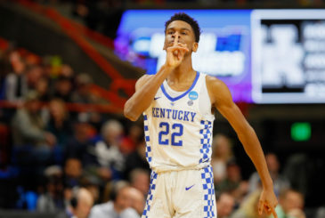 BOISE, ID - MARCH 17:  Shai Gilgeous-Alexander #22 of the Kentucky Wildcats gestures during the first half against the Buffalo Bulls in the second round of the 2018 NCAA Men's Basketball Tournament at Taco Bell Arena on March 17, 2018 in Boise, Idaho.  (Photo by Kevin C. Cox/Getty Images)