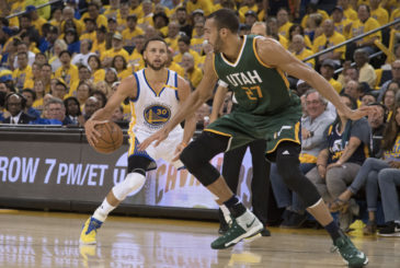May 2, 2017; Oakland, CA, USA; Golden State Warriors guard Stephen Curry (30) dribbles the basketball against Utah Jazz center Rudy Gobert (27) during the second quarter in game one of the second round of the 2017 NBA Playoffs at Oracle Arena. Mandatory Credit: Kyle Terada-USA TODAY Sports ORG XMIT: USATSI-359235 ORIG FILE ID:  20170502_kkt_st3_007.jpg