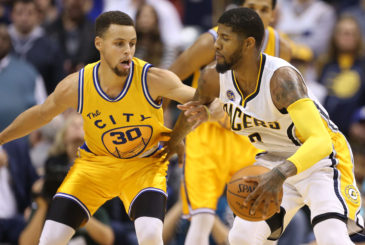 Dec 8, 2015; Indianapolis, IN, USA; Indiana Pacers forward Paul George (13) is guarded by Golden State Warriors guard Stephen Curry (30) at Bankers Life Fieldhouse. Golden State defeats Indiana 131-123. Mandatory Credit: Brian Spurlock-USA TODAY Sports
