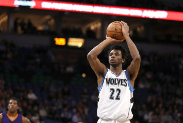MINNEAPOLIS, MN -  DECEMBER 19:  Andrew Wiggins #22 of the Minnesota Timberwolves shoots a free throw against the Phoenix Suns on December 19, 2016 at Target Center in Minneapolis, Minnesota. NOTE TO USER: User expressly acknowledges and agrees that, by downloading and or using this Photograph, user is consenting to the terms and conditions of the Getty Images License Agreement. Mandatory Copyright Notice: Copyright 2016 NBAE (Photo by Jordan Johnson/NBAE via Getty Images)
