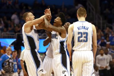 Feb 28, 2016; Orlando, FL, USA; Orlando Magic forward Aaron Gordon (00) celebrates with guard Elfrid Payton (4), guard Victor Oladipo (5) and guard Mario Hezonja (23) after he dunks against the Philadelphia 76ers during second half at Amway Center. Orlando Magic defeated the Philadelphia 76ers 130-116. Mandatory Credit: Kim Klement-USA TODAY Sports