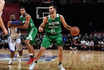 LAS VEGAS, NV - JULY 8: Abdel Nader #51 of the Boston Celtics handles the ball during the game against the Los Angeles Lakers during the 2017 Las Vegas Summer League on July 8, 2017 at the Thomas & Mack Center in Las Vegas, Nevada. NOTE TO USER: User expressly acknowledges and agrees that, by downloading and or using this Photograph, user is consenting to the terms and conditions of the Getty Images License Agreement. Mandatory Copyright Notice: Copyright 2017 NBAE (Photo by Garrett Ellwood/NBAE via Getty Images)