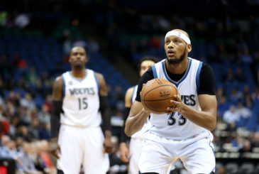 MINNEAPOLIS, MN -  APRIL 11: Adreian Payne #33 of the Minnesota Timberwolves shoots a free throw during the game against the Houston Rockets on April 11, 2016 at Target Center in Minneapolis, Minnesota. NOTE TO USER: User expressly acknowledges and agrees that, by downloading and or using this Photograph, user is consenting to the terms and conditions of the Getty Images License Agreement. Mandatory Copyright Notice: Copyright 2016 NBAE (Photo by Jordan Johnson/NBAE via Getty Images)