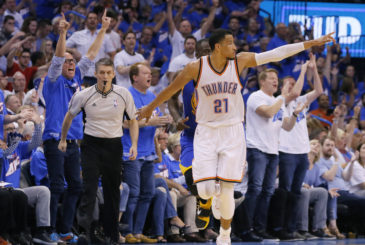 Oklahoma City's Andre Roberson (21) celebrates after a basket during Game 3 of the Western Conference finals in the NBA playoffs between the Oklahoma City Thunder and the Golden State Warriors at Chesapeake Energy Arena in Oklahoma City, Sunday, May 22, 2016. Oklahoma City won 133-105. Photo by Bryan Terry, The Oklahoman