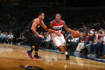 WASHINGTON, DC - JANUARY 16:  Bradley Beal #3 of the Washington Wizards drives to the basket against C.J. McCollum #3 of the Portland Trail Blazers during the game on January 16, 2017 at Verizon Center in Washington, DC. NOTE TO USER: User expressly acknowledges and agrees that, by downloading and or using this Photograph, user is consenting to the terms and conditions of the Getty Images License Agreement. Mandatory Copyright Notice: Copyright 2017 NBAE (Photo by Ned Dishman/NBAE via Getty Images)