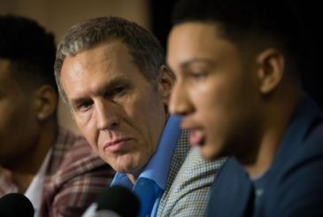 Jun 24, 2016; Philadelphia, PA, USA; Philadelphia 76ers number one overall draft pick Ben Simmons (R) and President of Basketball Operations Bryan Colangelo (L) during an introduction press conference at the Philadelphia College Of Osteopathic Medicine. Mandatory Credit: Bill Streicher-USA TODAY Sports