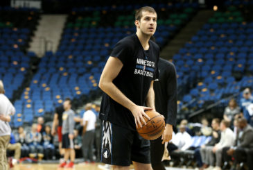 MINNEAPOLIS, MN -  JANUARY 8: Nemanja Bjelica #88 of the Minnesota Timberwolves warms up before the game against the Cleveland Cavaliers on January 8, 2016 at Target Center in Minneapolis, Minnesota. NOTE TO USER: User expressly acknowledges and agrees that, by downloading and or using this Photograph, user is consenting to the terms and conditions of the Getty Images License Agreement. Mandatory Copyright Notice: Copyright 2016 NBAE (Photo by Jordan Johnson/NBAE via Getty Images)