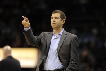 Dec 12, 2015; Charlotte, NC, USA; Boston Celtics head coach Brad Stevens during the second half of the game against the Charlotte Hornets at Time Warner Cable Arena. Celtics win 98-93. Mandatory Credit: Sam Sharpe-USA TODAY Sports