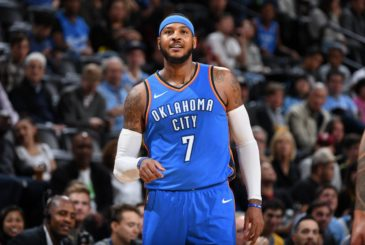 DENVER, CO - OCTOBER 10:  Carmelo Anthony #7 of the Oklahoma City Thunder looks on during the game against the Denver Nuggets on October 10, 2017 at the Pepsi Center in Denver, Colorado. NOTE TO USER: User expressly acknowledges and agrees that, by downloading and/or using this Photograph, user is consenting to the terms and conditions of the Getty Images License Agreement. Mandatory Copyright Notice: Copyright 2017 NBAE (Photo by Garrett Ellwood/NBAE via Getty Images) SENDER: �Powers, Ian�  SUBJECT: Carmelo Anthony