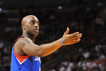 Apr 6, 2013; Miami, FL, USA; Philadelphia 76ers shooting guard Damien Wilkins (8) during the first half against the Miami Heat at the American Airlines Arena. Mandatory Credit: Steve Mitchell-USA TODAY Sports