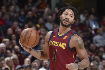 CLEVELAND, OH - JANUARY 28: Derrick Rose #1 of the Cleveland Cavaliers handles the ball against the Detroit Pistons on January 28, 2018 at Quicken Loans Arena in Cleveland, Ohio.  NOTE TO USER: User expressly acknowledges and agrees that, by downloading and or using this Photograph, user is consenting to the terms and conditions of the Getty Images License Agreement. Mandatory Copyright Notice: Copyright 2018 NBAE (Photo by David Liam Kyle/NBAE via Getty Images)