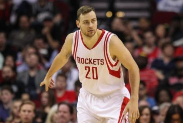 Feb 27, 2016; Houston, TX, USA; Houston Rockets forward Donatas Motiejunas (20) after a play during the game against the San Antonio Spurs at Toyota Center. Mandatory Credit: Troy Taormina-USA TODAY Sports