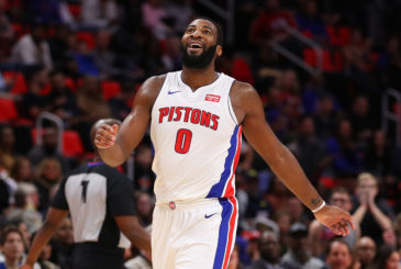 DETROIT, MI - DECEMBER 08: Andre Drummond #0 of the Detroit Pistons reacts to a offensive basket interference call during the first half while playing the Golden State Warriors at Little Caesars Arena on December 8, 2017 in Detroit, Michigan. NOTE TO USER: User expressly acknowledges and agrees that, by downloading and or using this photograph, User is consenting to the terms and conditions of the Getty Images License Agreement. (Photo by Gregory Shamus/Getty Images)