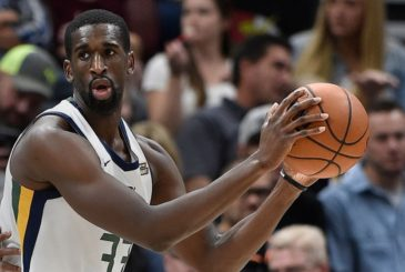 SALT LAKE CITY, UT - OCTOBER 4: Ekpe Udoh #33 of the Utah Jazz looks to pass the ball in the second half of their 117-78 win over the Maccabi Haifa in preseason action at Vivint Smart Home Arena on October 4, 2017 in Salt Lake City, Utah. NOTE TO USER: User expressly acknowledges and agrees that, by downloading and or using this photograph, User is consenting to the terms and conditions of the Getty Images License Agreement. (Photo by Gene Sweeney Jr./Getty Images)