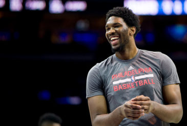 PHILADELPHIA, PA - DECEMBER 22: Joel Embiid #21 of the Philadelphia 76ers warms up prior to the game against the Memphis Grizzlies on December 22, 2015 at the Wells Fargo Center in Philadelphia, Pennsylvania. NOTE TO USER: User expressly acknowledges and agrees that, by downloading and or using this photograph, User is consenting to the terms and conditions of the Getty Images License Agreement. (Photo by Mitchell Leff/Getty Images)