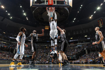 MEMPHIS, TN - APRIL 20:  JaMychal Green #0 of the Memphis Grizzlies goes up for a dunk against the San Antonio Spurs during Game Three of the Western Conference Quarterfinals of the 2017 NBA Playoffs on April 20, 2017 at FedExForum in Memphis, Tennessee. NOTE TO USER: User expressly acknowledges and agrees that, by downloading and/or using this photograph, user is consenting to the terms and conditions of the Getty Images License Agreement. Mandatory Copyright Notice: Copyright 2017 NBAE (Photo by Joe Murphy/NBAE via Getty Images)