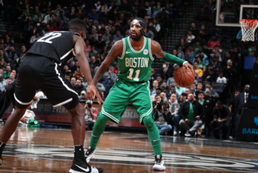 BROOKLYN, NY - NOVEMBER 14: Kyrie Irving #11 of the Boston Celtics handles the ball against the Brooklyn Nets on November 14, 2017 at Barclays Center in Brooklyn, New York. NOTE TO USER: User expressly acknowledges and agrees that, by downloading and or using this Photograph, user is consenting to the terms and conditions of the Getty Images License Agreement. Mandatory Copyright Notice: Copyright 2017 NBAE (Photo by Nathaniel S. Butler/NBAE via Getty Images)