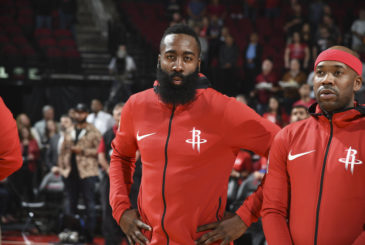 HOUSTON, TX - NOVEMBER 14: James Harden #13 of the Houston Rockets looks on before game against the Toronto Raptors on November 14, 2017 at the Toyota Center in Houston, Texas. NOTE TO USER: User expressly acknowledges and agrees that, by downloading and or using this photograph, User is consenting to the terms and conditions of the Getty Images License Agreement. Mandatory Copyright Notice: Copyright 2017 NBAE (Photo by Bill Baptist/NBAE via Getty Images)