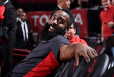 HOUSTON, TX - NOVEMBER 29:  James Harden #13 of the Houston Rockets looks on before the game against the Indiana Pacers on November 29, 2017 at the Toyota Center in Houston, Texas. NOTE TO USER: User expressly acknowledges and agrees that, by downloading and or using this photograph, User is consenting to the terms and conditions of the Getty Images License Agreement. Mandatory Copyright Notice: Copyright 2017 NBAE (Photo by Bill Baptist/NBAE via Getty Images)