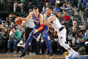 DALLAS, TX - JANUARY 7: Kristaps Porzingis #6 of the New York Knicks jocks for a position during the game against the Dallas Mavericks on January 7, 2018 at the American Airlines Center in Dallas, Texas. NOTE TO USER: User expressly acknowledges and agrees that, by downloading and or using this photograph, User is consenting to the terms and conditions of the Getty Images License Agreement. Mandatory Copyright Notice: Copyright 2018 NBAE (Photo by Danny Bollinger/NBAE via Getty Images)