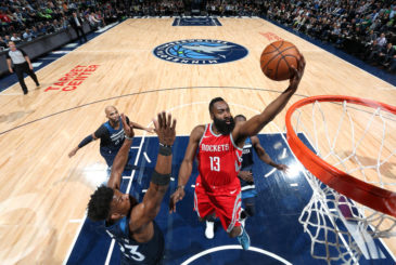 MINNEAPOLIS, MN - APRIL 23:  James Harden #13 of the Houston Rockets goes to the basket against the Minnesota Timberwolves in Game Four of Round One of the 2018 NBA Playoffs on April 23, 2018 at Target Center in Minneapolis, Minnesota. NOTE TO USER: User expressly acknowledges and agrees that, by downloading and or using this Photograph, user is consenting to the terms and conditions of the Getty Images License Agreement. Mandatory Copyright Notice: Copyright 2018 NBAE (Photo by David Sherman/NBAE via Getty Images)