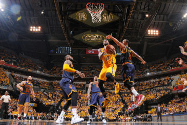 INDIANAPOLIS, IN - APRIL 20:  Paul George #13 of the Indiana Pacers goes up for a shot against the Cleveland Cavaliers during Game Three of the Eastern Conference Quarterfinals of the 2017 NBA Playoffs on April 20, 2017 at Bankers Life Fieldhouse in Indianapolis, Indiana. NOTE TO USER: User expressly acknowledges and agrees that, by downloading and/or using this photograph, user is consenting to the terms and conditions of the Getty Images License Agreement. Mandatory Copyright Notice: Copyright 2017 NBAE (Photo by Ron Hoskins/NBAE via Getty Images)