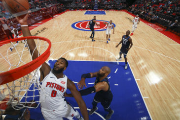 DETROIT, MI - OCTOBER 25: Andre Drummond #0 of the Detroit Pistons dunks the ball against the Minnesota Timberwolves on October 25, 2017 at Little Caesars Arena in Detroit, Michigan. NOTE TO USER: User expressly acknowledges and agrees that, by downloading and/or using this photograph, User is consenting to the terms and conditions of the Getty Images License Agreement. Mandatory Copyright Notice: Copyright 2017 NBAE (Photo by B. Sevald/NBAE via Getty Images)