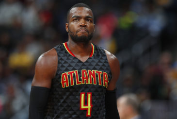 Atlanta Hawks forward Paul Millsap (4) in the second half of an NBA basketball game Friday, Dec. 23, 2016, in Denver. The Hawks won 109-108. (AP Photo/David Zalubowski)