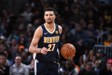 DENVER, CO - NOVEMBER 11:  Jamal Murray #27 of the Denver Nuggets handles the ball against the Orlando Magic on November 11, 2017 at the Pepsi Center in Denver, Colorado. NOTE TO USER: User expressly acknowledges and agrees that, by downloading and/or using this Photograph, user is consenting to the terms and conditions of the Getty Images License Agreement. Mandatory Copyright Notice: Copyright 2017 NBAE (Photo by Garrett Ellwood/NBAE via Getty Images)