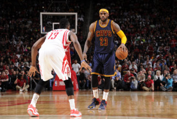 HOUSTON, TX - MARCH 1: LeBron James #23 of the Cleveland Cavaliers defends the ball against James Harden #13 of the Houston Rockets during the game on March 1, 2015 at the Toyota Center in Houston, Texas. NOTE TO USER: User expressly acknowledges and agrees that, by downloading and or using this photograph, User is consenting to the terms and conditions of the Getty Images License Agreement. Mandatory Copyright Notice: Copyright 2015 NBAE (Photo by Bill Baptist/NBAE via Getty Images)