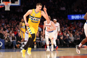 Feb 10, 2017; New York, NY, USA; Denver Nuggets power forward Nikola Jokic (15) reacts after hitting a three point shot against the New York Knicks during the third quarter at Madison Square Garden. Mandatory Credit: Brad Penner-USA TODAY Sports
